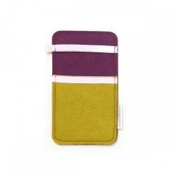 Small Smartphone Wool Felt Slip - MUSTARD VIOLET