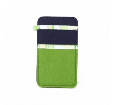 Small Smartphone Wool Felt Slip - GREEN NAVY BLUE