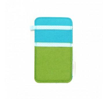 Small Smartphone Wool Felt Slip - GREEN TURQ