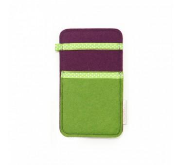 Small Smartphone Wool Felt Slip - GREEN VIOLET DOTS