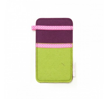 Small Smartphone Wool Felt Slip - GREEN PINK DOTS