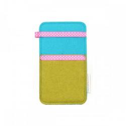 Small Smartphone Wool Felt Slip - MUSTARD TURQ