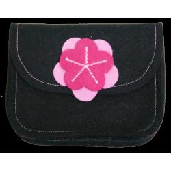 Wool Felt Purse - Black Pink