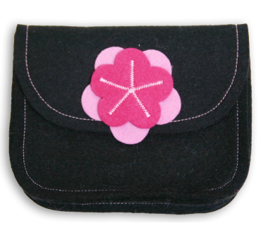 Wool Felt Purse - Black Pink