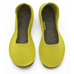 Women's Wool Felt Slippers - Ballerina Yellow with rubber, no hill