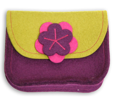 Wool Felt Purse - Mustard Viola