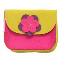 Wool Felt Purse - Mustard Pink