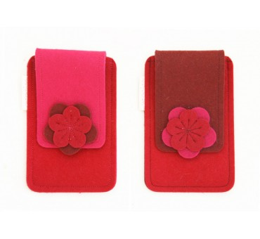 Small Smartphone Wool Felt Case - RED