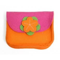 Wool Felt Purse - Pink Orange - LAST ONE