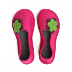 School Kids Wool Felt Slippers - PINK Flower