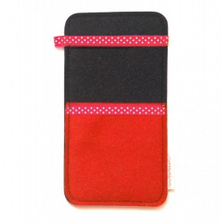 Large Smartphone Wool Felt Slip - RED BLACK