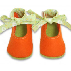 Baby Wool Felt Slippers - ORANGE (17) - LAST ONE