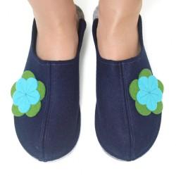 Women's Wool Felt Slippers - Wide NAVY (LAST PAIR)