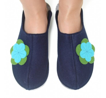 Women's Wool Felt Slippers - Wide Navy Gr