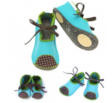 Kids Wool Felt Slippers BLUE