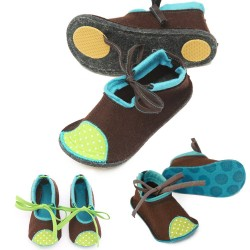Kids Wool Felt Slippers - BROWN