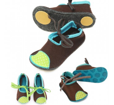 Kids Wool Felt Slippers BROWN