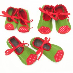 Kids Wool Felt Slippers - GREEN RED