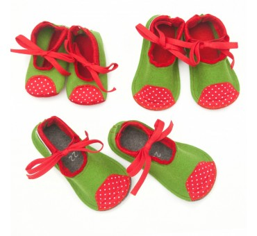 Kids Wool Felt Slippers GREEN RED