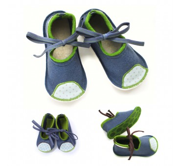 Kids Wool Felt Slippers - JEANS BLUE
