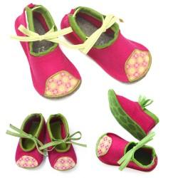Kids Wool Felt Slippers - MAGENTA