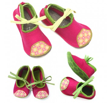 Kids Wool Felt Slippers - MAGENTA