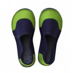 School Kids Wool Felt Slippers - NAVY GREEN Boy