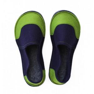 93f21e843d7d School Kids Wool Felt Slippers - NAVY GREEN Boy