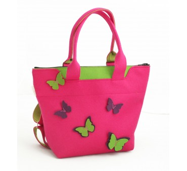 BagPack - Wool Felt 2in1 Bag - PINK Butterfly