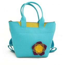 BagPack - Wool Felt 2in1 Bag - BLUE Flower
