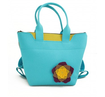 BagPack - Wool Felt 2in1 Bag - BLUE Flower