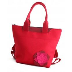 BagPack - Wool Felt 2in1 Bag - RED Flower