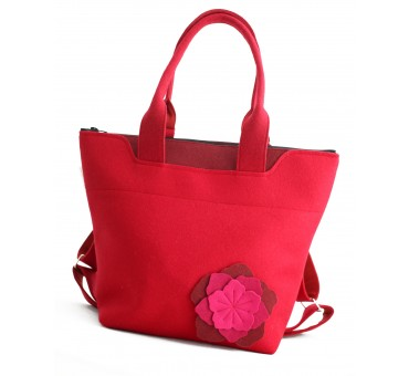 BagPack - Wool Felt 2in1 Bag - RED Flower