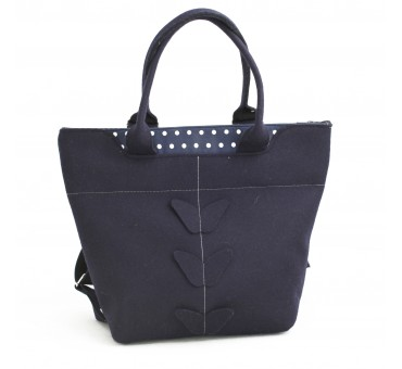BagPack - Wool Felt 2in1 Bag - NAVY Dots