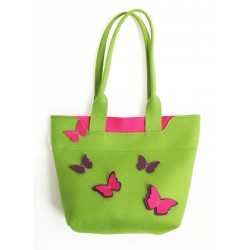 BigBag - Wool Felt Bag - Green Butterfly