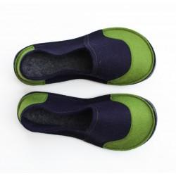 School Kids Wool Felt Slippers - NAVY GREEN Boy