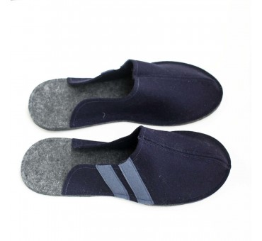 Men's Wool Felt Slippers - NAVY BLUE