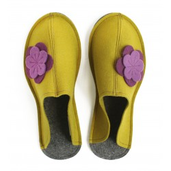 Women's Wool Felt Slippers - Wide MUSTARD