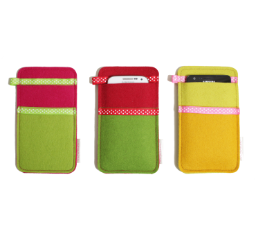 Wool Felt Smartphone Slip - Red Green Yellow