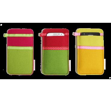 Small Smartphone Wool Felt Slip - Red Green Yellow