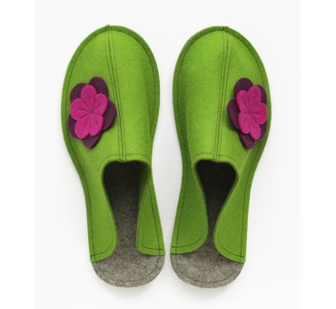 Women's Wool Felt Slippers - Wide GREEN