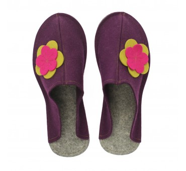 Women's Wool Felt Slippers - Wide VIOLA