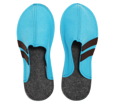 Men's Wool Felt Slippers LIGHT BLUE