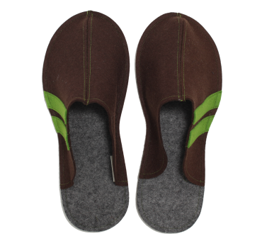 Men's Wool Felt Slippers - BROWN