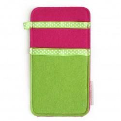Large Smartphone Wool Felt Slip - GREEN PINK